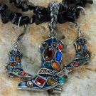 NEW MULTICOLOR WESTERN BOOT SPURS NECKLACE PENDANT SET