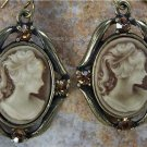 NEW BROWN ANTIQUE STYLE LADY CAMEO 8 CRYSTAL EARRINGS