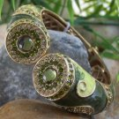 NEW  GREEN  HINGE BANGLE BRACELET