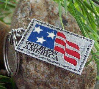 NEW GOD BLESS AMERICA FLAG USA KEY CHAIN KEYCHAIN
