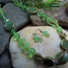 NEW BOHO GREEN MIXED CERAMIC SEED BEAD NECKLACE SET