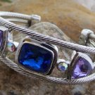 NEW MULTI BLUE PURPLE AUSTRIAN CRYSTAL BANGLE BRACELET