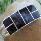 NEW BLACK SQUARE SILVER TONE METAL CUFF BANGLE BRACELET