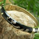NEW  BLACK WHITE HINGE BANGLE BRACELET