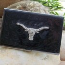 BLACK WESTERN LONGHORN BULL CREDIT BUSINESS CARD CASE