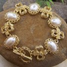 NEW CREAM BEIGE OFF WHITE FAUX PEARL GOLD EP BRACELET