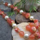 NEW PEACH ORANGE WHITE BEIGE FAUX PEARL NECKLACE SET