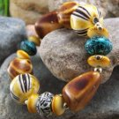 NEW YELLOW BROWN BLUE WHITE BEAD BRACELET