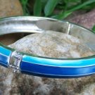 NEW  BLUE ENAMEL HINGE BANGLE BRACELET