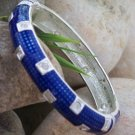NEW  BLUE ENAMEL CRYSTAL BANGLE BRACELET