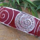 NEW RED CRYSTAL ENAMEL HINGE BANGLE METAL BRACELET