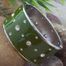 NEW GREEN ENAMEL HINGE BANGLE METAL BRACELET