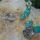 NEW  BLUE SILVER TONE HEART LOVE BRACELET