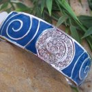 NEW BLUE CRYSTAL ENAMEL HINGE BANGLE METAL BRACELET