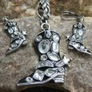 NEW BLACK WESTERN BOOTS SPURS CRYSTAL PENDANT SET