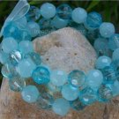 NEW BLUE TURQUOISE COLOR RIBBON GLASS BEAD BRACELET SET