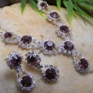 NEW PINK CRYSTAL BRIDE BRIDAL TEAR DROP NECKLACE SET