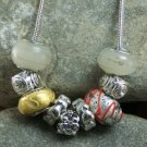 NEW EUROPEAN STYLE RED TWO TONE GLASS LAMPWORK NECKLACE