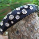 NEW  BLACK ENAMEL CRYSTAL BANGLE BRACELET