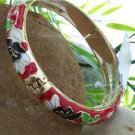 NEW RED BLACK FLOWER SILVER TONE HINGE BANGLE BRACELET