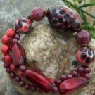 NEW RED BLACK WHITE ANIMAL PRINT LEOPARD BEAD BRACELET