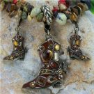 NEW BROWN WESTERN BOOT SPURS NECKLACE PENDANT SET