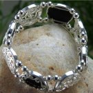 NEW BLACK SILVER TONE FILIGREE BANGLE BRACELET