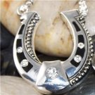 NEW BLACK WESTERN COWGIRL HORSESHOE HORSE 7 CRYSTAL SET
