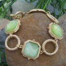NEW LIME GREEN SQUARE GOLD TONE RING METAL BRACELET