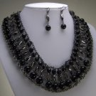 BLACK GRAY GREY HEMATITE STATEMENT NECKLACE SET