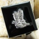 NEW BLACK WESTERN BOOT BOOTS CRYSTAL COMPACT MIRROR