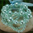 NEW BLUE FAUX PEARL GLASS BEAD RIBBON BRACELET
