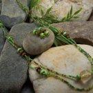 NEW BOHO GREEN LONG MIXED WOOD SEED BEAD NECKLACE SET