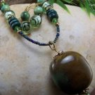 NEW BOHO GREEN MIXED BEAD LAMPWORK GLASS NECKLACE SET