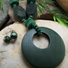 NEW LONG GREEN WOOD CIRCLE HOOP NECKLACE SET
