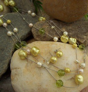 NEW YELLOW GREEN LONG MIX BEAD FAUX PEARL NECKLACE SET