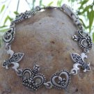 NEW FRENCH FLEUR DE LIS SILVER TONE CROWN BRACELET