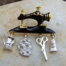 VINTAGE LOOK ANTIQUE STYLE SEW SEWING MACHINE BROOCH