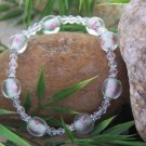 NEW PINK ROSE GLASS AUSTRIAN CRYSTAL BRACELET