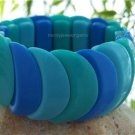 NEW BLUE SCALLOP WIDE BANGLE BRACELET
