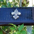NEW BLACK FRENCH FLEUR DE LIS PURSE CHECKBOOK WALLET