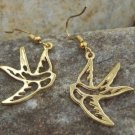 NEW GOLD TONE TATTOO BIRD SWALLOW DOVE ANIMAL EARRINGS