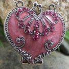 Pink Heart Love Valentines Day Austrian Crystal Locket Necklace