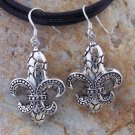NEW TEXTURED 925 STERLING SILVER FLEUR DE LIS EARRINGS