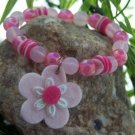 NEW KIDS CHILDRENS GIRLS PINK FLOWER FLORAL BRACELET