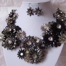 FLOWER METAL ART GRAY BIB STATEMENT NECKLACE SET