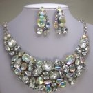 CLEAR BIB BRIDAL STATEMENT NECKLACE SET