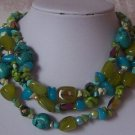TURQUOISE GREEN BLUE PEARL GEMSTONE NECKLACE SET