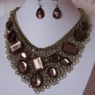 BROWN TOPAZ BIB STATEMENT GOLD P NECKLACE SET