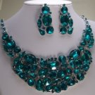 BLUE ZIRCON BIB BRIDAL NECKLACE SET